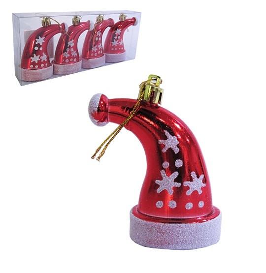 Enfeite Pendurar Touca Plástica Vermelho Com Glitter 7cm C/4 Pçs