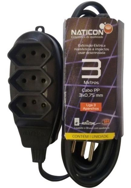 Extensão 3m com 3 Tomadas 2P+T 10A - Naticon