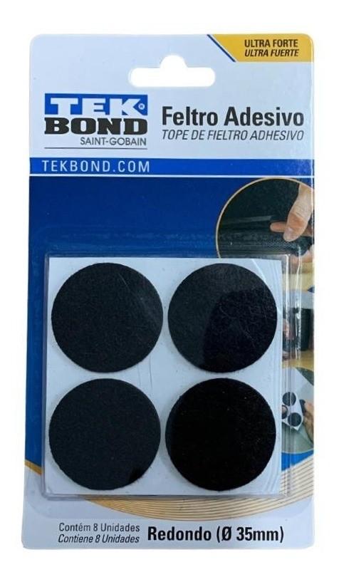 Feltro Adesivo Preto Redondo 35mm