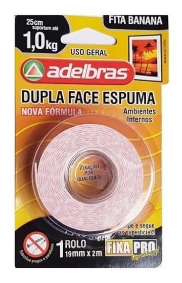 Fita Dupla Face Espuma 19mmX2m - ADELBRAS