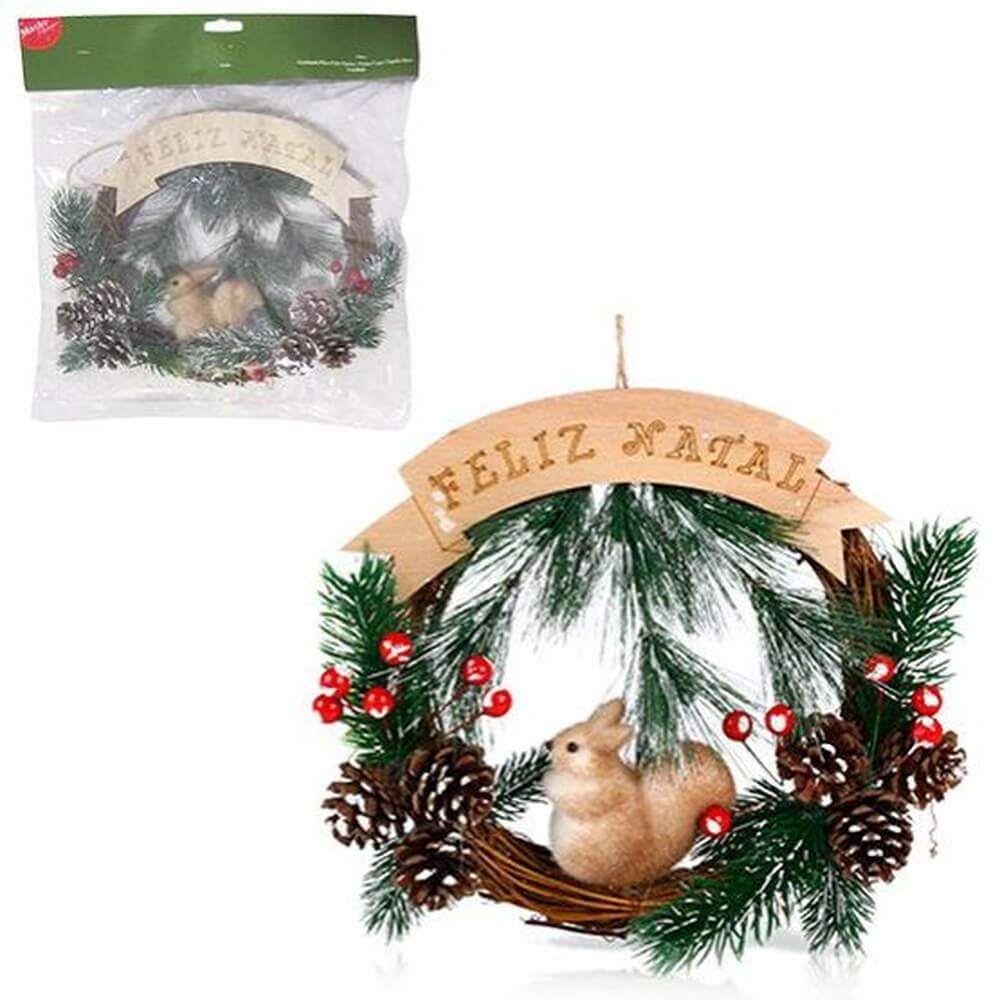 Guirlanda Feliz Natal Esquilo e Pinhas 23cm
