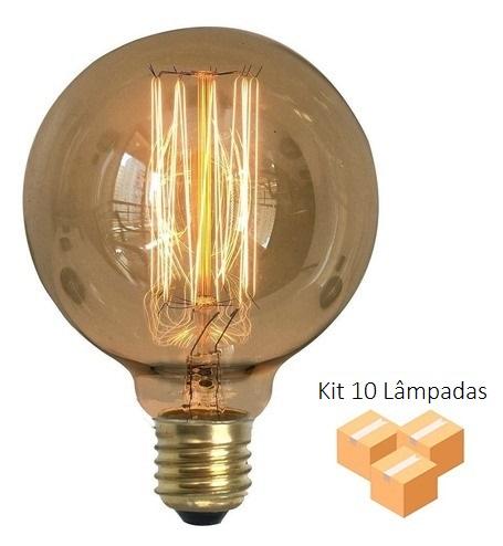 Kit 10 Lâmpadas Retrô Decorativa Vintage Thomas Edison G95