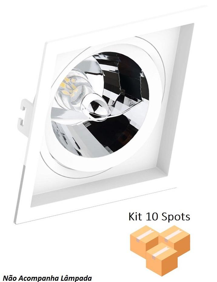 Kit 10 Spots Embutir AR111 Quadrado Branco Recuado