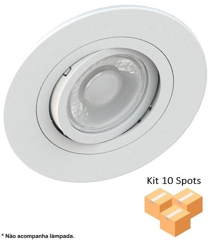 Kit 10 Spots Embutir AR70 Redondo Branco Face Plana