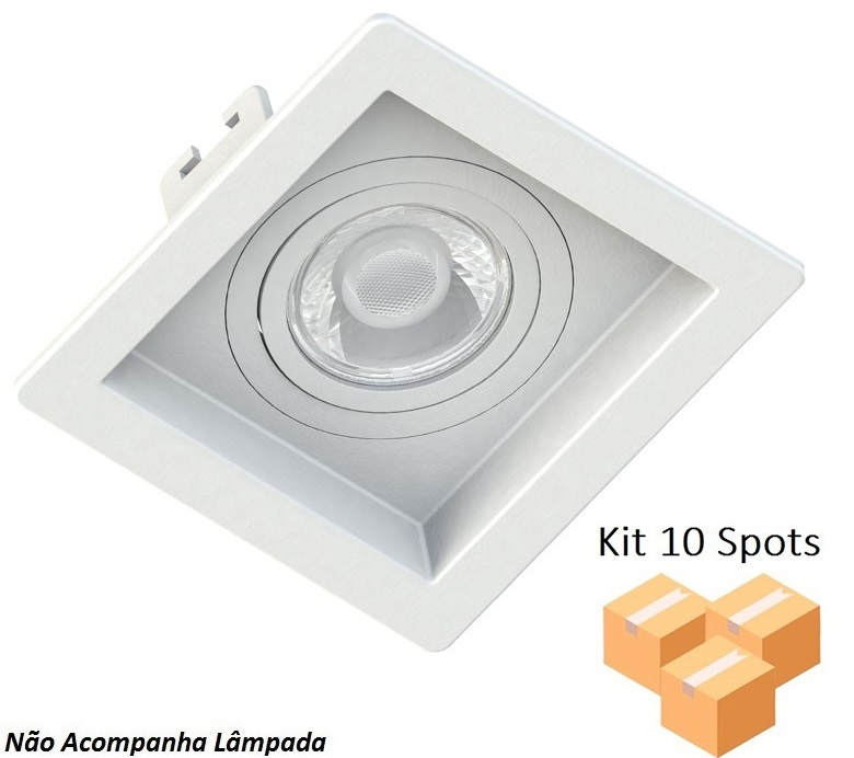 Kit 10 Spots Embutir Dicróica Quadrado Branco Recuado