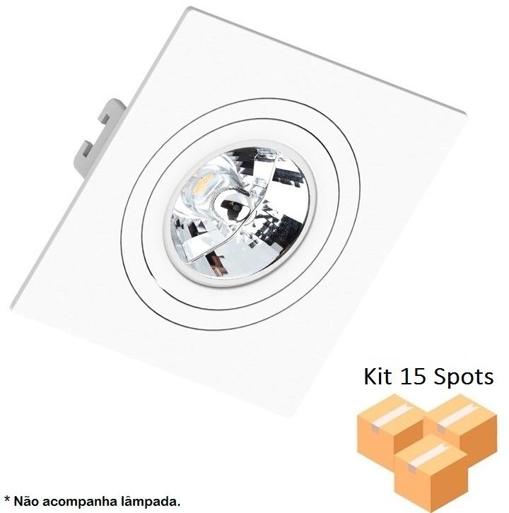 Kit 15 Spots Embutir AR70 Quadrado Branco Face Plana