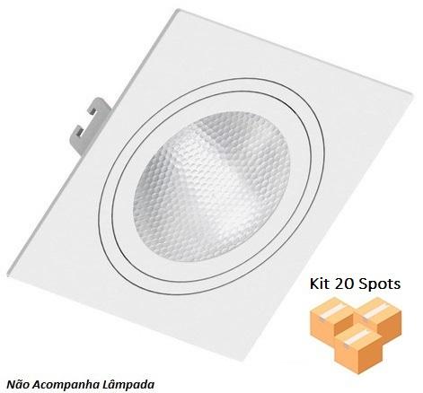 Kit 20 Spots Embutir Quadrado Face Plana Par30 E27 Branco