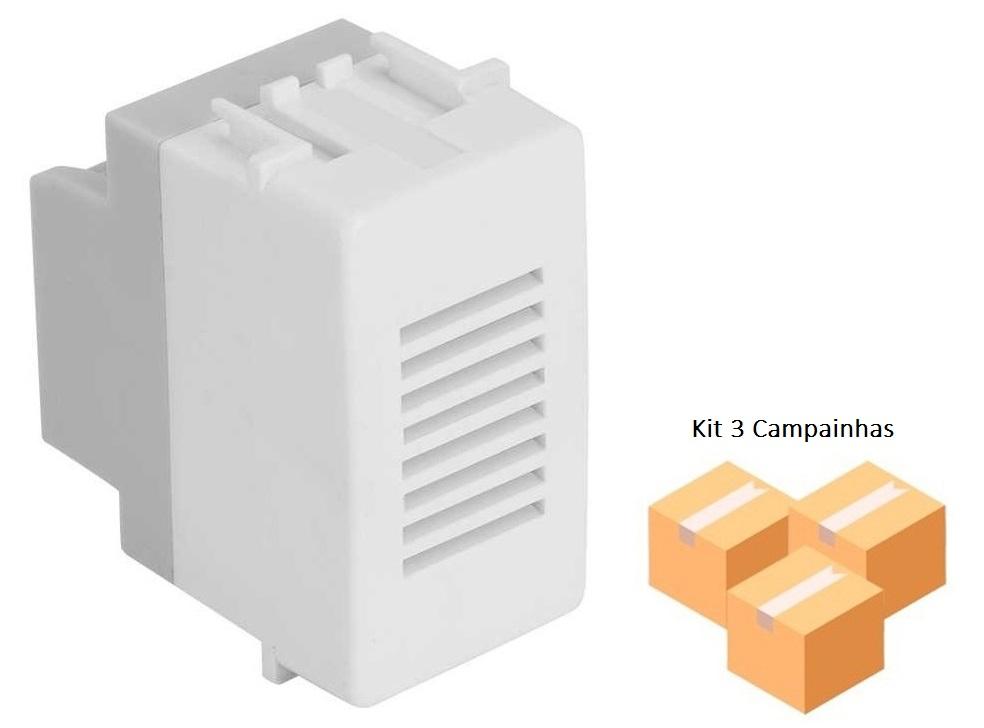 Kit 3 Campainhas Cigarra Branca Bivolt Automático - SIMON