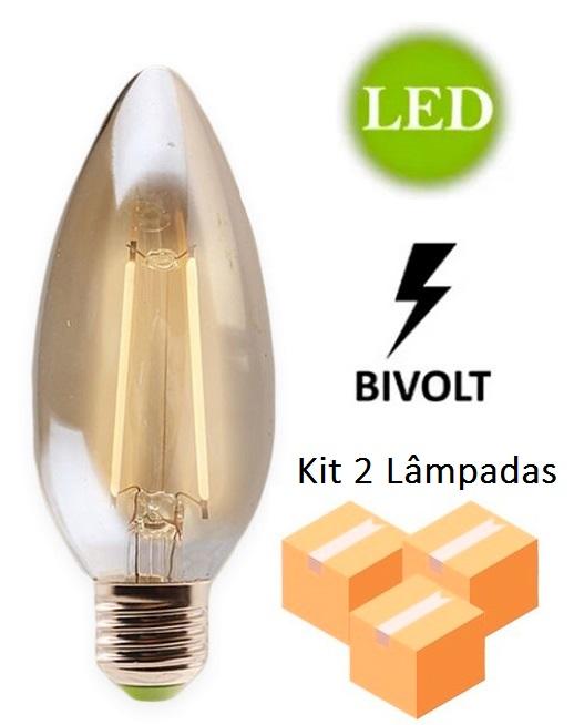 Kit 2 Lâmpadas de Filamento Led Vela 2w E27 Bivolt - GMH