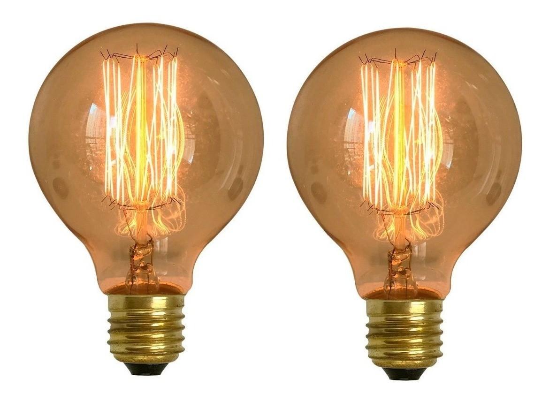 Kit 2 Lâmpadas Retrô Decorativa Vintage Thomas Edison G80