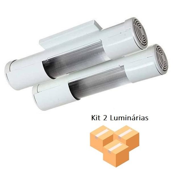 Kit 2 Luminárias Mini tubular Branco p/2 Lâmpadas Tualux