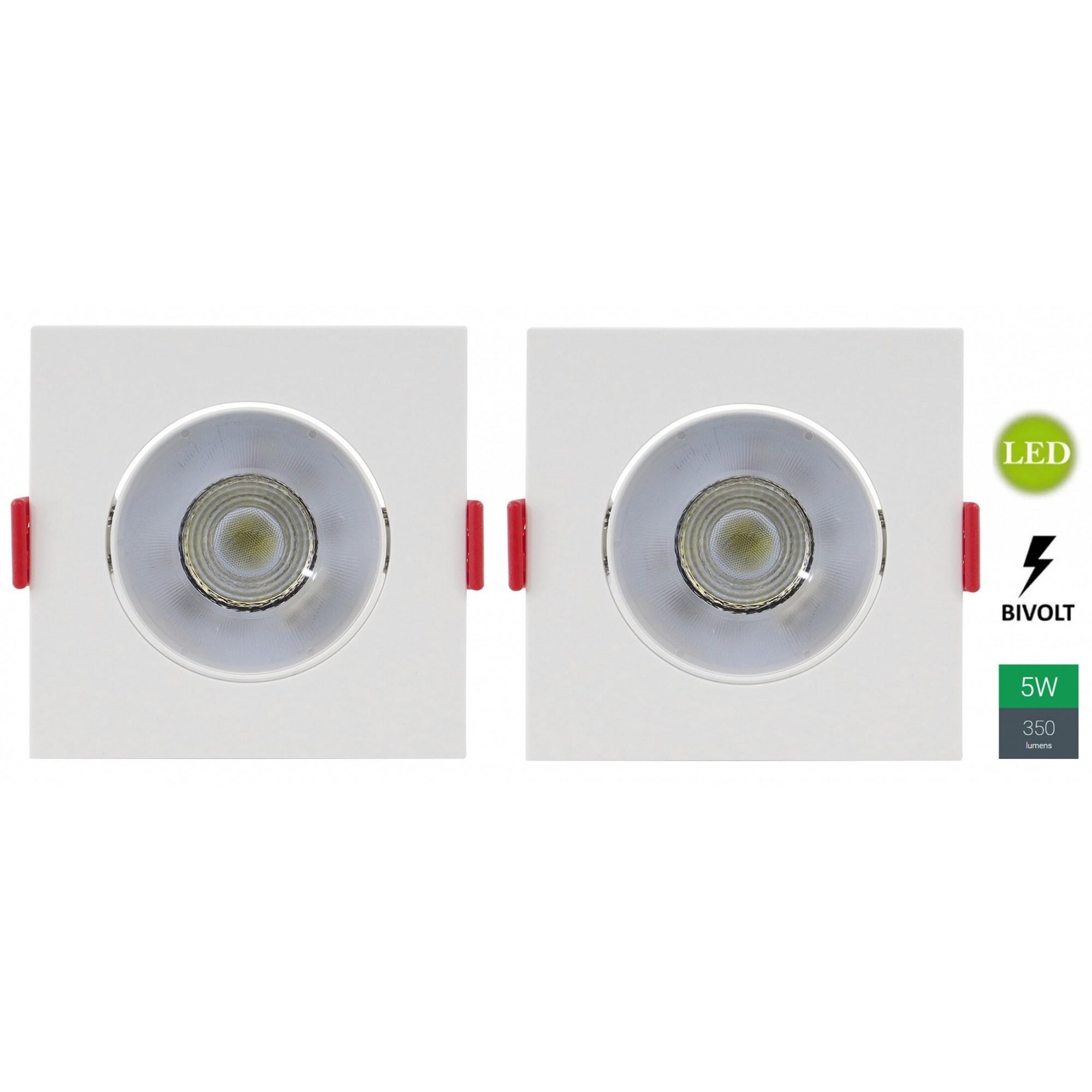 Kit 2 Spots Embutir 5w Quadrado Branco Quente