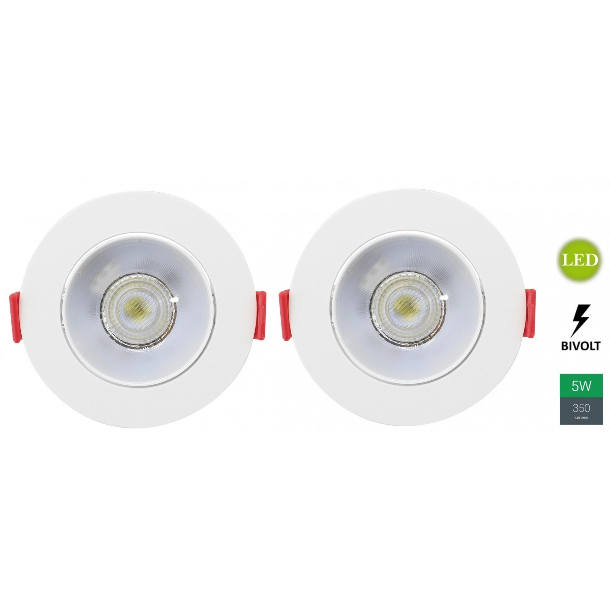 Kit 2 Spots Embutir 5w Redondo Branco Frio