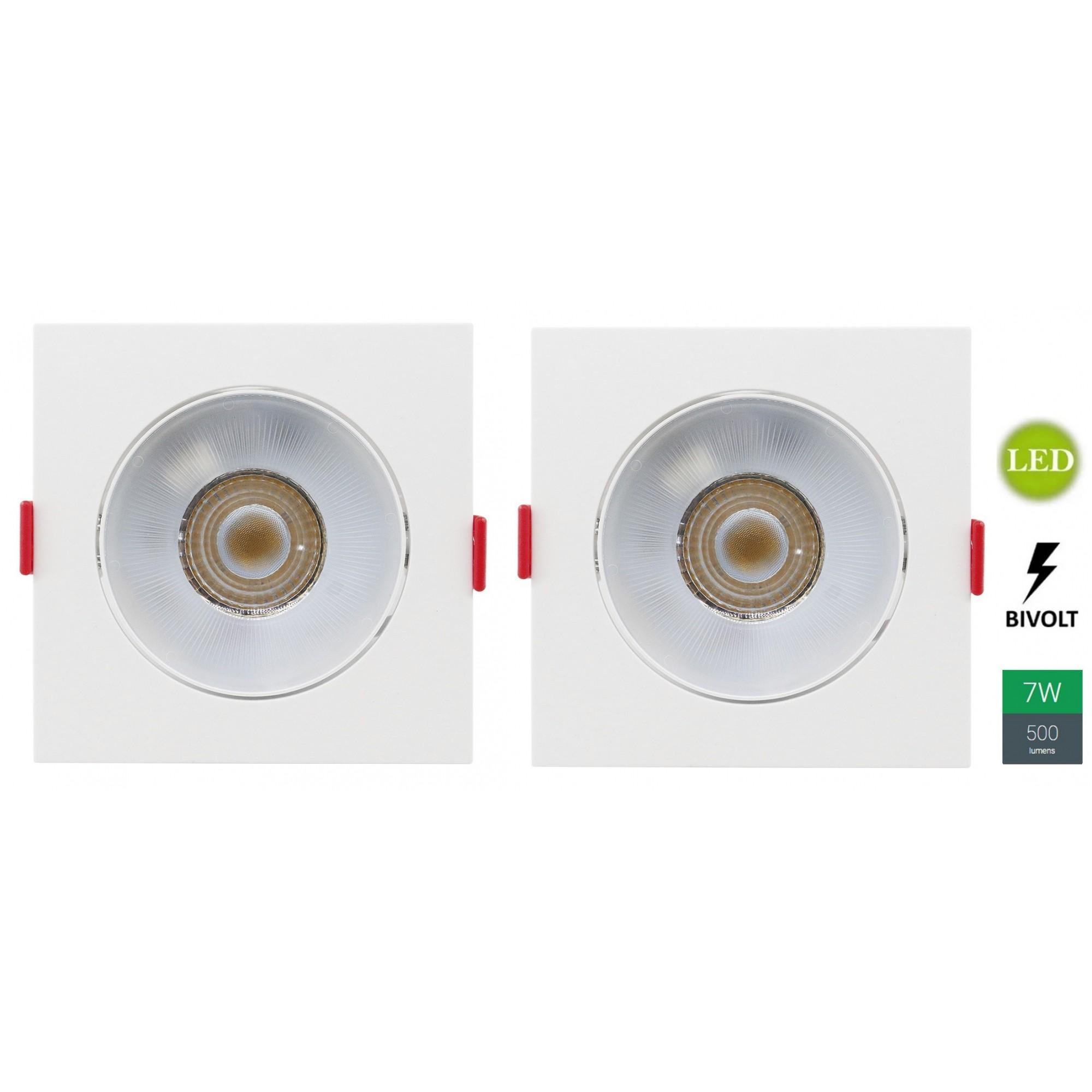 Kit 2 Spots Embutir 7w Quadrado Branco Quente