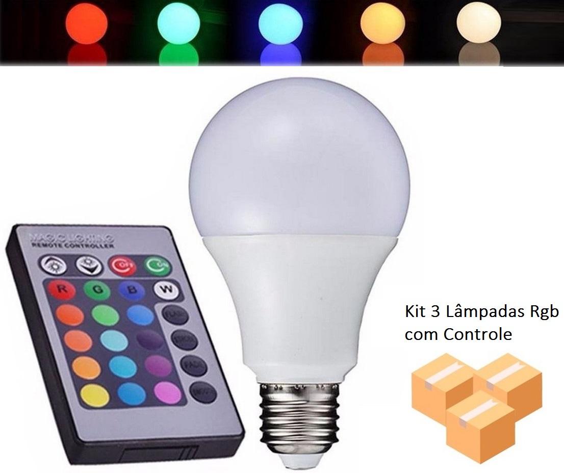 Kit 3 Lâmpadas Bulbo 5w Rgb Com Controle