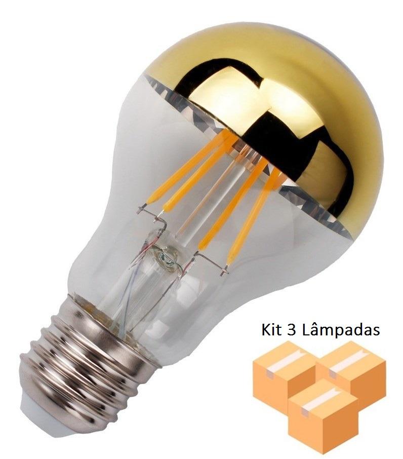 Kit 3 Lâmpadas de Filamento Led A19 Defletora 6w - Dourada