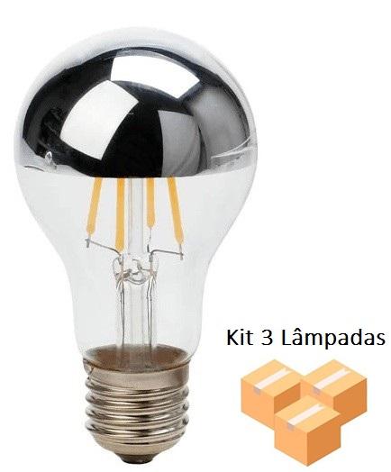 Kit 3 Lâmpadas de Filamento Led A19 Defletora 6w - GMH