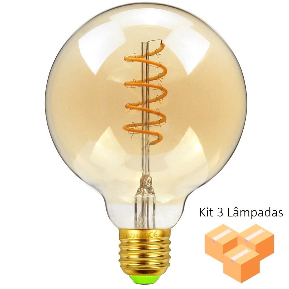 Kit 3 Lâmpadas de Filamento LED G80 Spiral 4W Bivolt