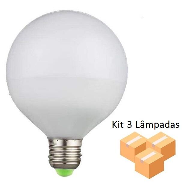 Kit 3 Lâmpadas De Filamento Led G95 Leitosa 4w - GMH