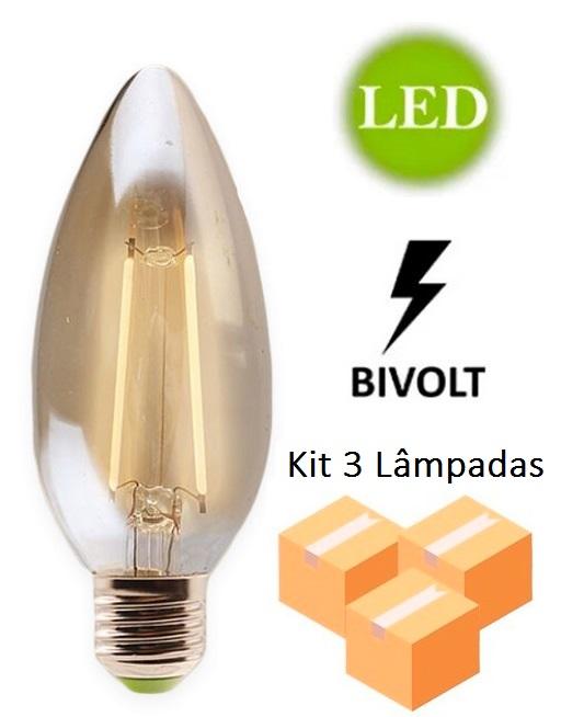 Kit 3 Lâmpadas de Filamento Led Vela 2w E27 Bivolt - GMH