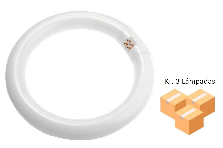 Kit 3 Lâmpadas Fluorescente Circular Bivolt 22w T9 BRASFORT - 8381