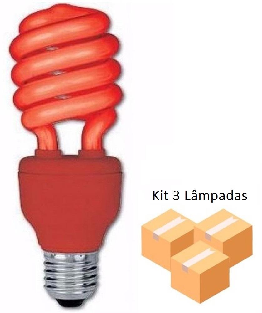 Kit 3 Lâmpadas Fluorescente Vermelha 15w Xelux