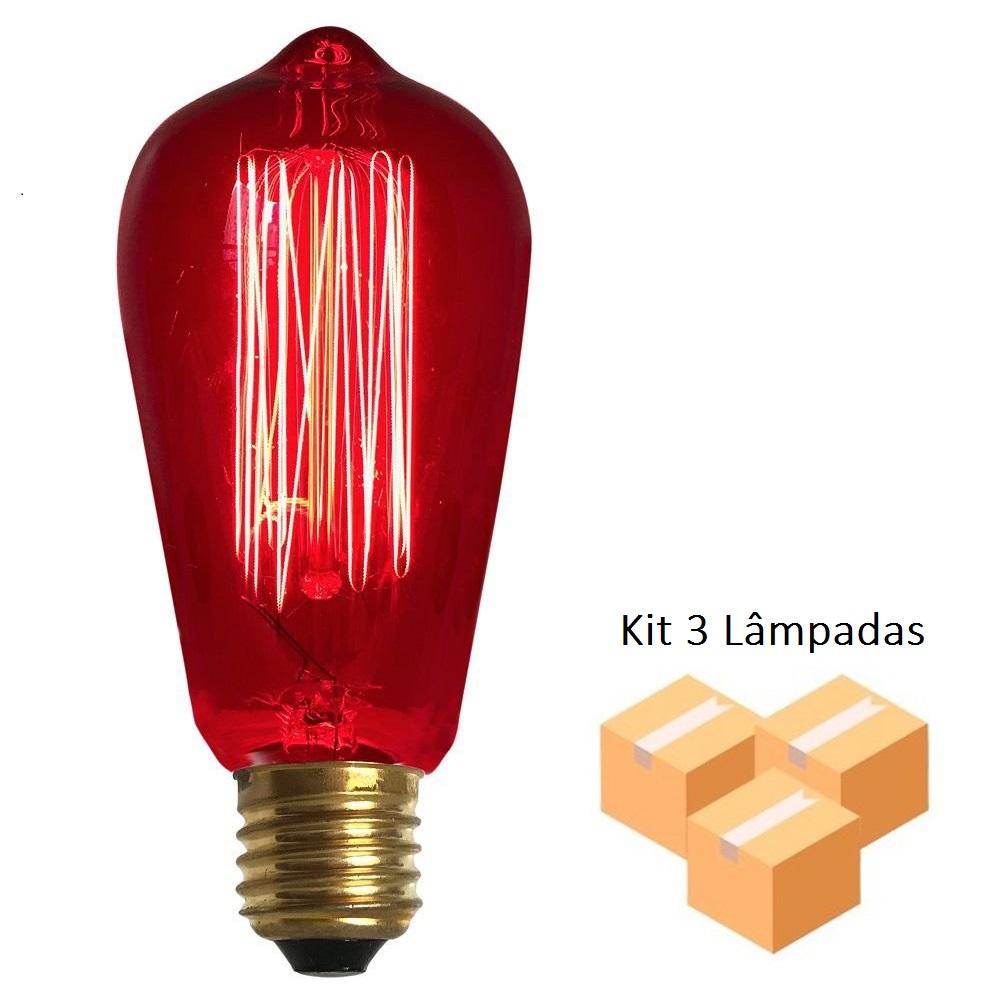 Kit 3 Lâmpadas Retro Vintage Thomas Edison St64 Vermelha 127v