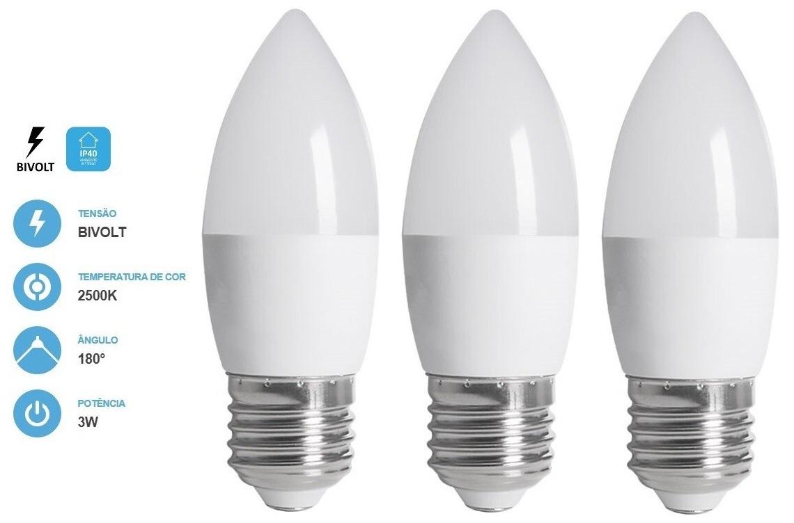 Kit 3 Lâmpadas Vela Fosca 3W 250LM 2500K E27 Bivolt Save Energy