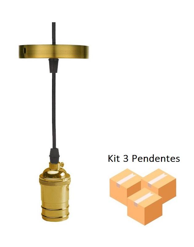 Kit 3 Pendentes Vintage Alumínio Ouro - Gmh