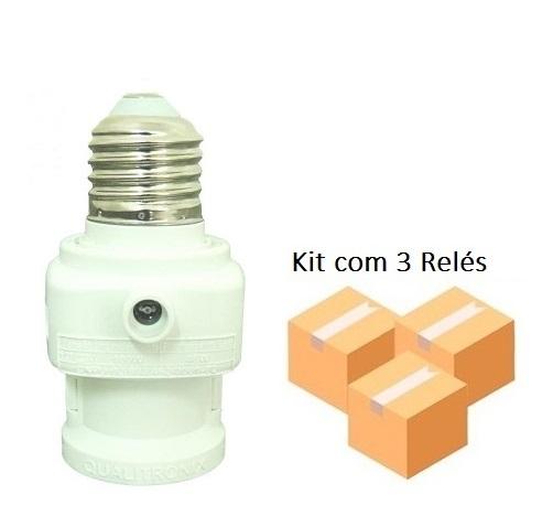 Kit 3 Relé Fotocélula Multifuncional QR52M - Qualitronix