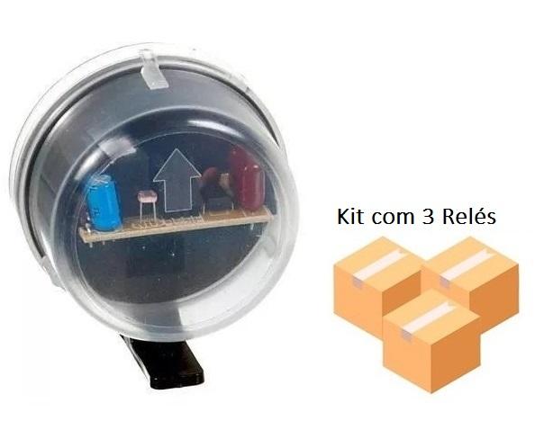 Kit 3 Relé Fotocélula Temporizado Externo 2x1 Qualitronix - Qr50m