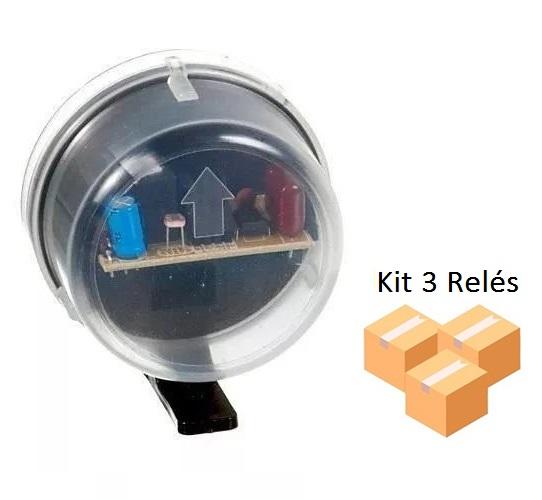 Kit 3 Relés Fotocélula Temporizado Externo 2x1 Qualitronix - Qr50m