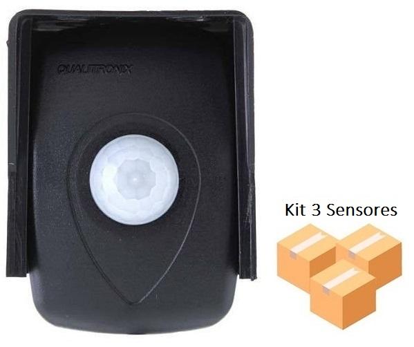 Kit 3 Sensores De Presença Fotocélula Externo Qualitronix Qa26m