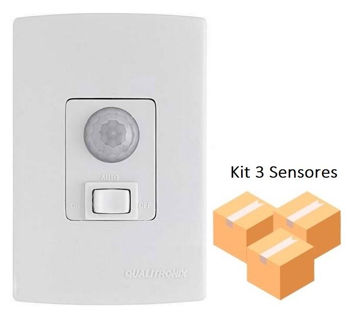 Kit 3 Sensores De Presença Fotocélula Interno Biv. Qualitronix Qi6m