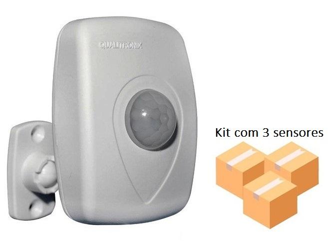 Kit 3 Sensores De Presença Parede Interno Bivolt Qualitronix - Qa21m