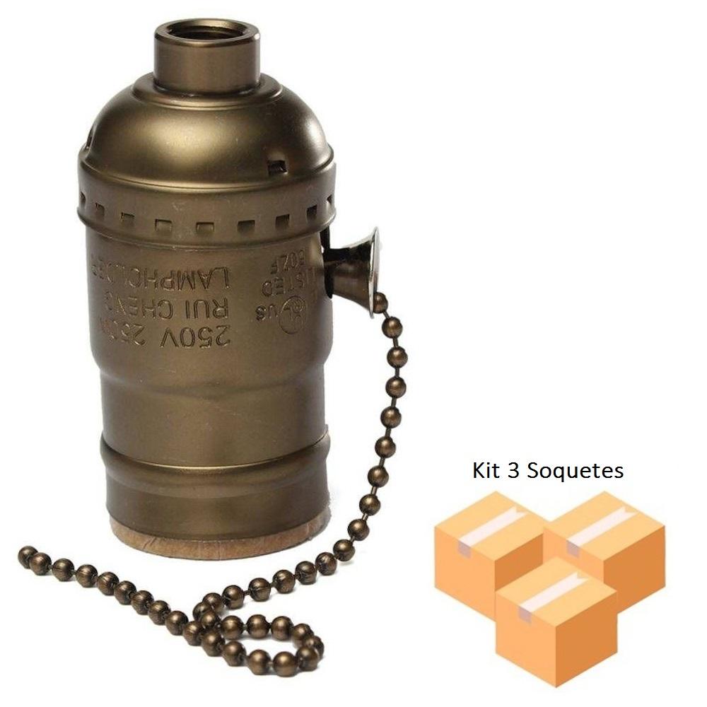 Kit 3 Soquetes Vintage Bronze E27 Liga - Desliga na Corrente