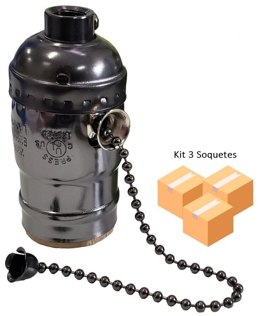 Kit 3 Soquetes Vintage Grafite E27 Liga - Desliga na Corrente