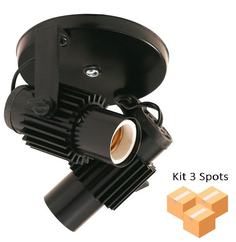 Kit 3 Spots Aletado Preto 2xE27