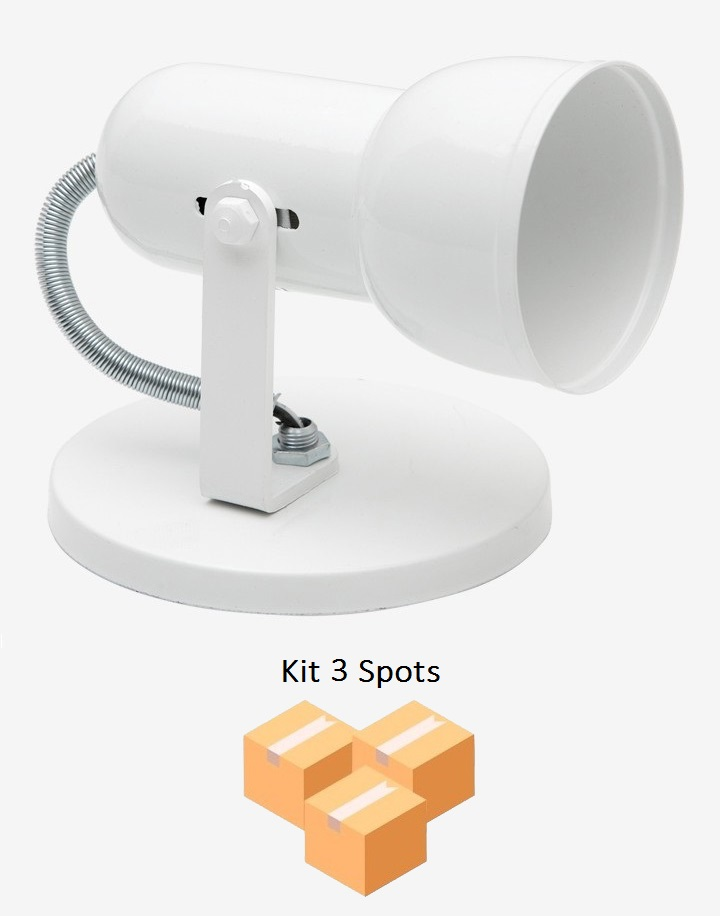 Kit 3 Spots Copinho PVC B/1 Branco Enerlux