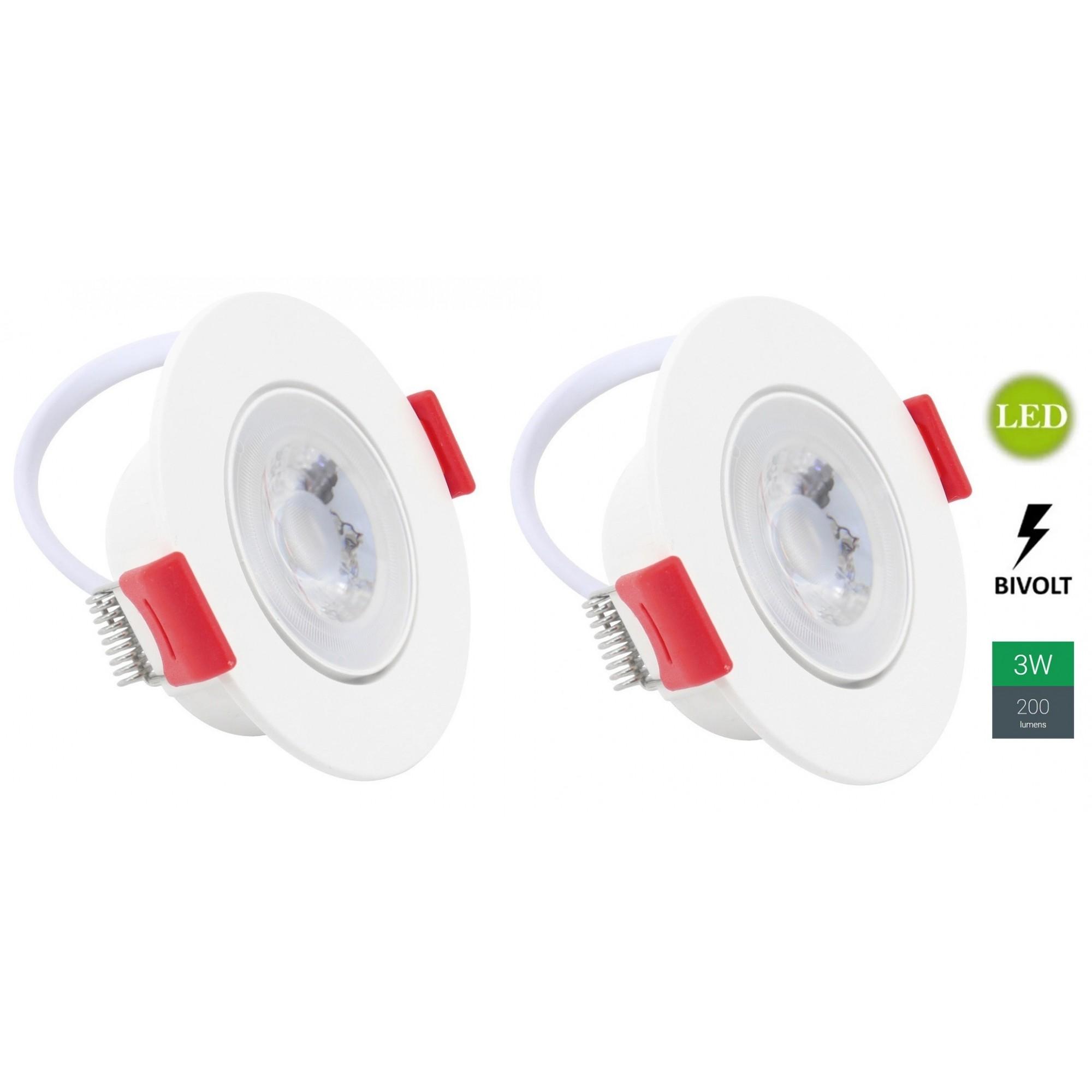 Kit 2 Spots Embutir 3w Redondo Branco Quente