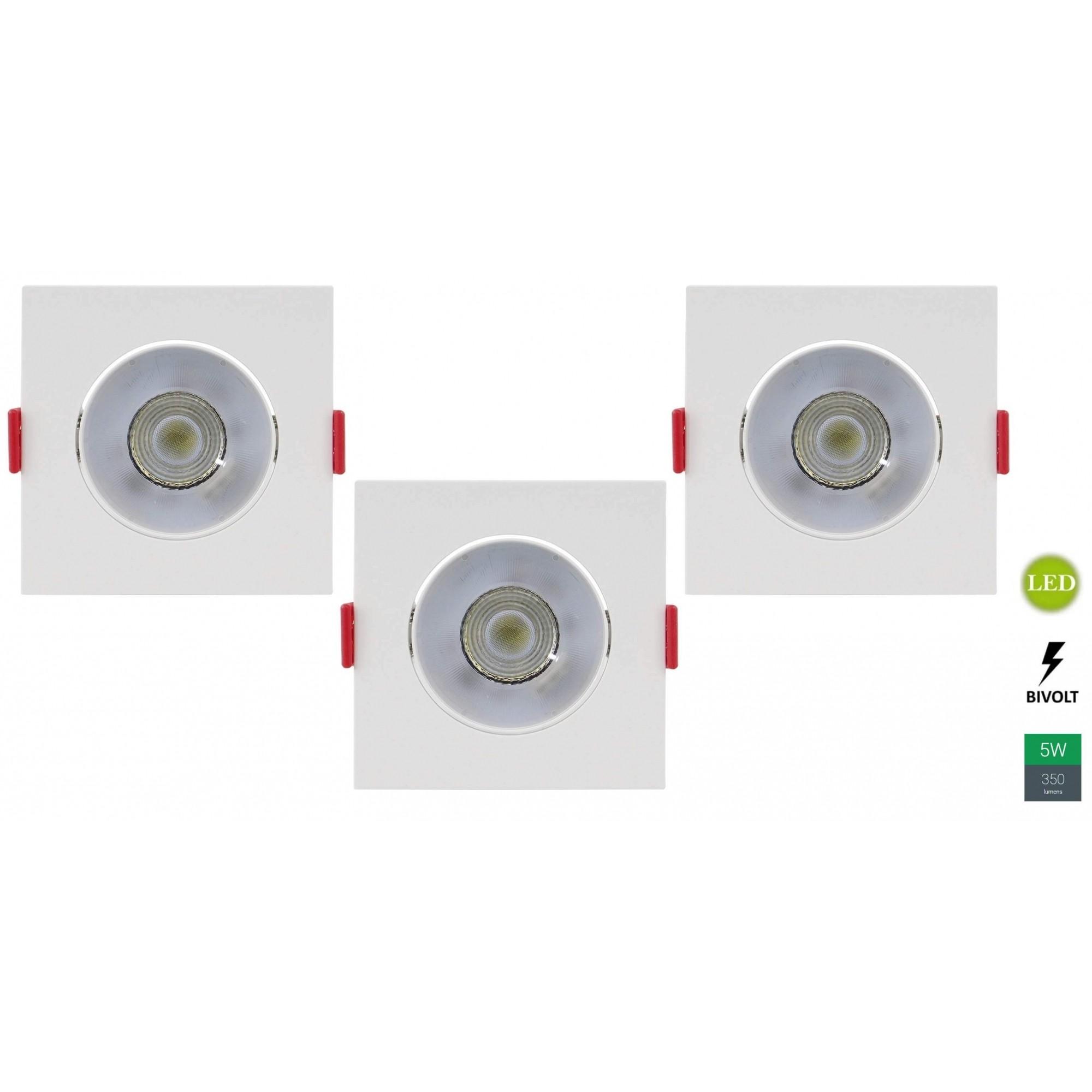 Kit 3 Spots Embutir 5w Quadrado Branco Quente