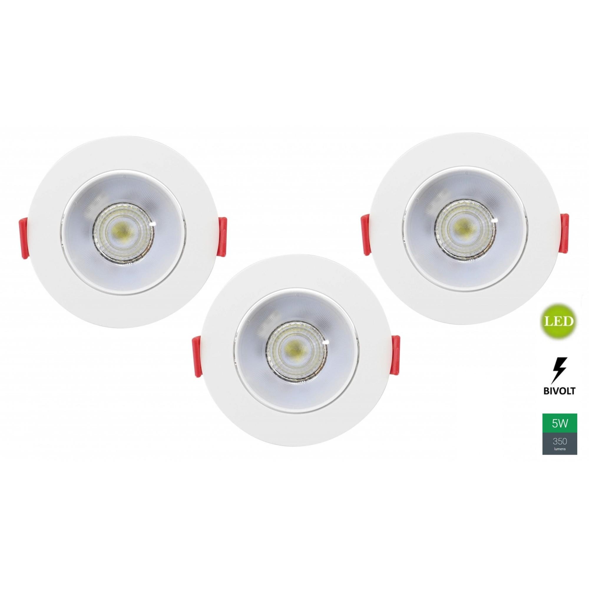Kit 3 Spots Embutir 5w Redondo Branco Frio