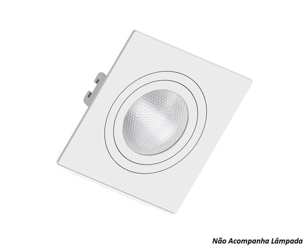 Kit 3 Spots Embutir Par20 Quadrado Branco Face Plana