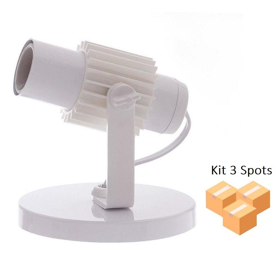 Kit 3 Spots Tubinho 1x E27 Branco