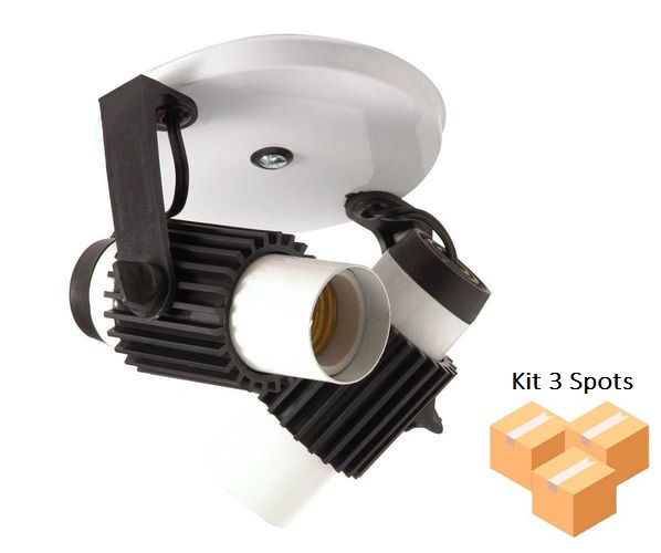 Kit 3 Spots Tubinho 2xE27 Branco C Preto
