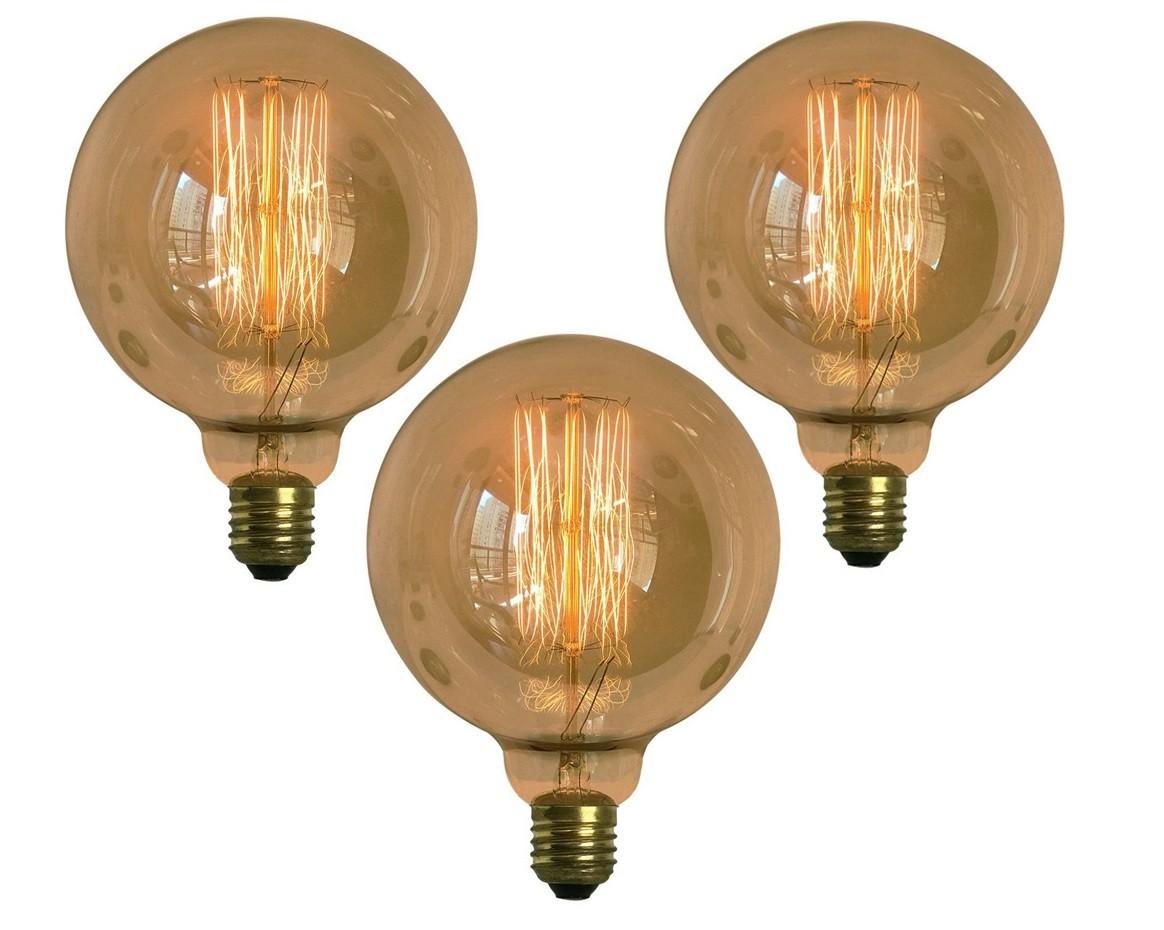 Kit 3x Lâmpadas Retro Decorativa Vintage Thomas Edison G125