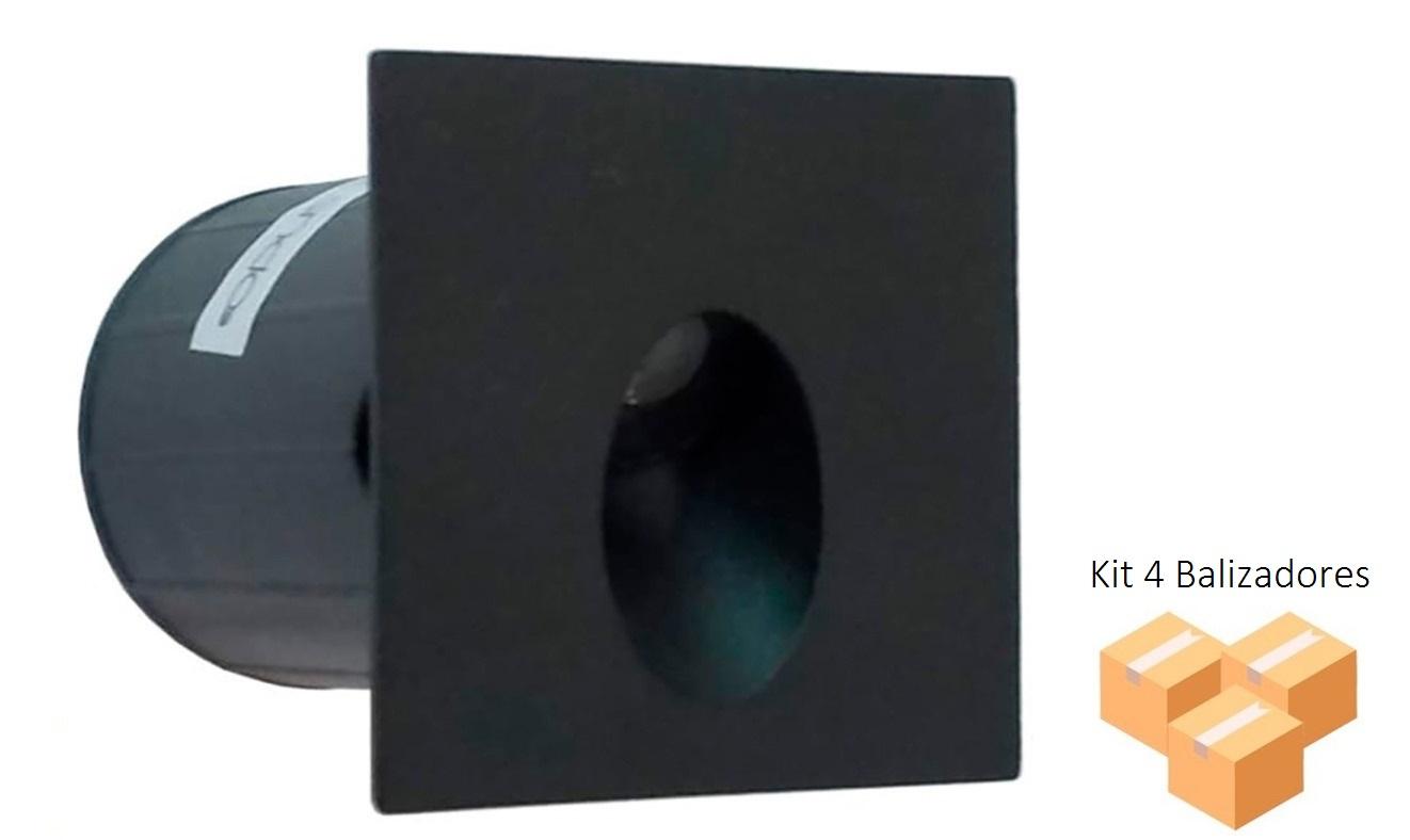 KIt 4 Balizadores Nano Vison 2w Preto IP65 - Opus