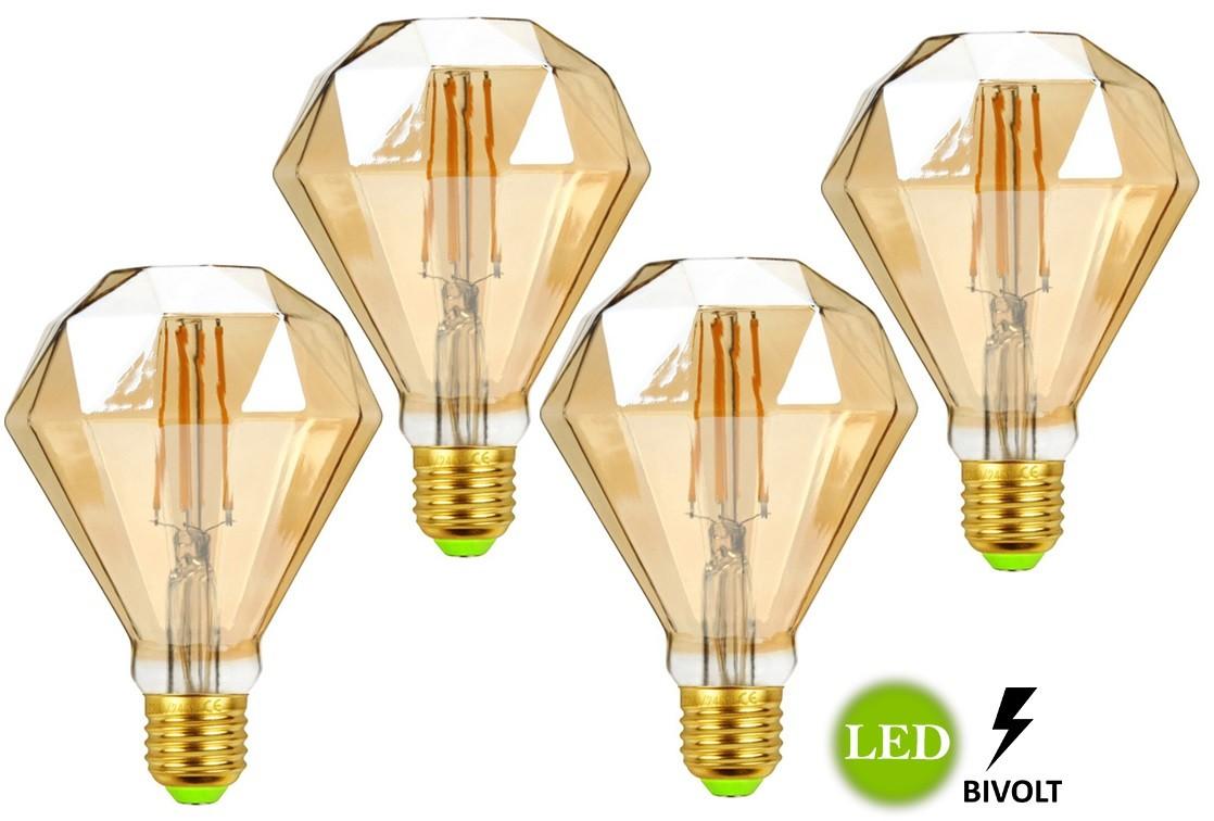 Kit 4 Lâmpadas de Filamento Led D95 Diamante 4w Bivolt