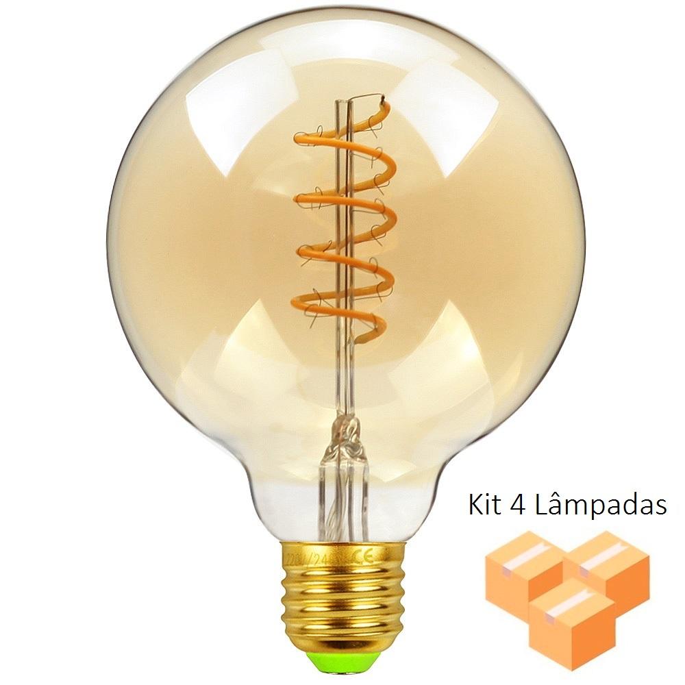 Kit 4 Lâmpadas de Filamento LED G80 Spiral 4W Bivolt