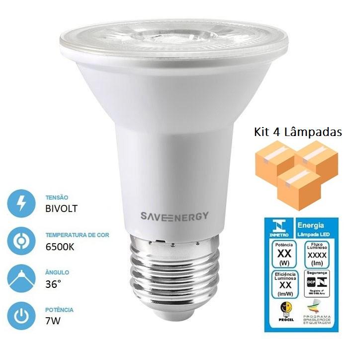 Kit 4 Lâmpadas Led Par20 7w 6500k E27 Crystal - Save Energy